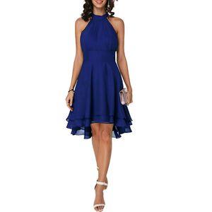 Frauen Ärmelloses Chiffon-Kleid Unregelmäßiger Saum Partykleider, Blau, 2XL