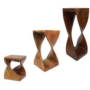 Hocker Holz gedreht Blumenhocker Sockel Ständer Blumenständer Holzhocker Pflanzenständer Holzblock Akazie, Farbe:Braun, Größe:27x27x50 cm (LBH)
