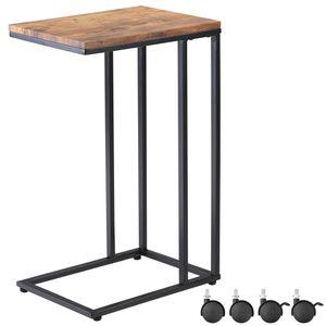 Casaria Beistelltisch Sofatisch mit Rollen Metall MDF Holz-Optik Couchtisch Bettisch Nachttisch Kaffeetisch Pflegetisch, Farbe:schwarz