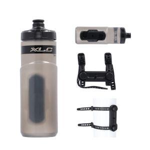 XLC Fidlock Trinkflasche WB-K07 600ml mit Fidlock uni base Adapter, schwarz/rauch (1 Set)