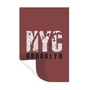 Wandaufkleber - New York - NYC - Plattegrond - 80x120 cm - Repositionierbar