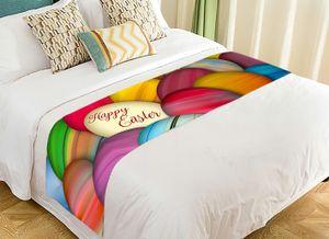 ABPHQTO Bunt bemalte Ostereier auf einem Stapelbett Läufer Bettwäsche Schal Bettdekoration 50x240 cm