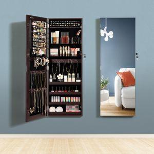 SONGMICS Schmuckschrank hängend | Hängeschrank abschließbarer Spiegelschrank mit Ganzkörperspiegel und 2 separaten Make-up-Organizern braun JJC001K01
