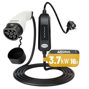 ABSINA EV Elektroauto Ladekabel Typ 2 Mode 2 Schuko - 6 Meter, 1-phasig, 3,7kW, 16A - zum Laden an Haushaltssteckdosen