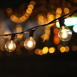 Tomshine 12m Lichterkette 28 LEDs Glühbirnen warmweiß Wasserdicht für Innen und Außen mit 25 E12 Fassungen Weihnachtsdeko, Beleuchtung für Gartenterraße