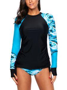 Plus Size Frauen Tankinis Langarm Badeanzug Zweiteiliger Neoprenanzug Surfing Swimming,Farbe:Dunkelblau,Größe:3XL
