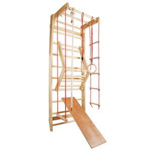 Sprossenwand Kletterwand Turnwand Klettergerüst Turngeräte Holz Kinder indoor, Farbe:Rot