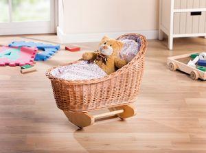 Puppenwiege mit Kissen und Decke, Maße ca. Länge 50 cm, Breite 35 cm, Höhe 40 cm
