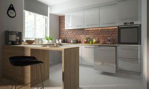 Küchenzeile Küchenblock Einbauküche Modern 90x270x280cm U-Form 11-tlg. grau / grau-weiß Hochglanz