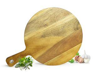 Pizzabrett mit Griff aus Mangoholz Holzbrett Vesperbrett Käsebrett Schneidebrett Wurstplatte Pizzateller