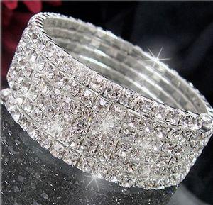 Armband Armreif 5-reihig Spiralform Strass Silber Braut A2254
