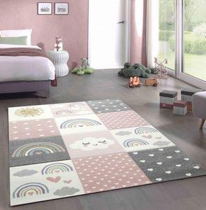 Spielteppich Kinderzimmer Teppich Herzchen Wolken Regenbogen Punkte rosa creme grau Größe - 160 cm Rund