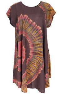 Batik Tunika, Midikleid, Strandkleid, Kurzarm Sommerkleid für Starke Frauen - Braun/orange, Damen, Viskose, Kurze Kleider