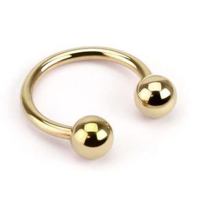 viva-adorno 1,2 x 8 x 3mm Hufeisen Piercing Edelstahl Lippenpiercing Augenbrauenpiercing Z54,Gold