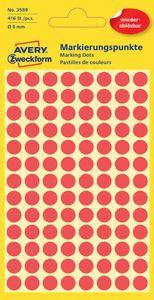 AVERY Zweckform Markierungspunkte ablösbar 8 mm rot 416 Stück