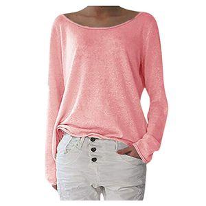 Mode Frauen lässig einfarbig lange O-Ausschnitt Ärmel lose Tops T-Shirt YQQ90916342 Größe:L,Farbe:Rosa