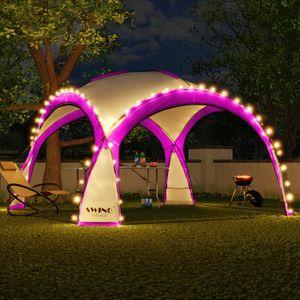 LED Event Pavillon 3,6 x 3,6m DomeShelter Garten Pavillion inkl. Solarmodul Pavilion Designer Gartenzelt Camping Pavilon Partyzelt mit Beleuchtung - pink