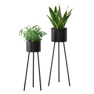 Pflanzständer Dalhem 2er Set Blumenständer-Set Pflanztopfhalter in 2 Größen Metall Schwarz [en.casa]