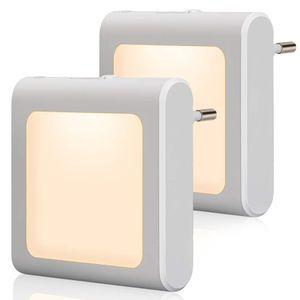 Nachtlicht Steckdose mit Dämmerungssensor, 2 Stück Helligkeit Stufenlos Einstellbar  für Kinderzimmer, Treppenaufgang,Schlafzimmer, Küche, Orientierungslicht,WarmWeiß