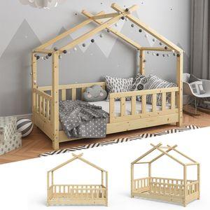 VITALISPA Kinderbett Hausbett DESIGN 70x140cm Natur Zaun Kinder Holz Haus Hausbett