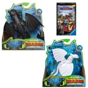SPAR-SET 181914 - DreamWorks - Dragons - Drachenzähmen leicht gemacht 3 - Spielfiguren-Set, Ohnezahn (Toothless) +Tagschatten (Lightfury)