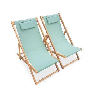 Holzliegestühle - Creus - 2 Liegestühle aus geöltemEukalyptus mit graugrünem Kopfstützenkissen