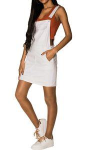 Damen Denim Jeans Latz Rock Basic Minirock Latzkleid Träger Jeansskirt Sommerkleid Jumpsuit, Farben:Weiß, Größe:42