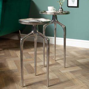 Elegantes 2er Set Beistelltische ABSTRACT 59cm silber Shabby Chic Tischset Satztische