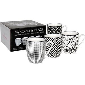 Waechtersbach My Colour is Black, Set, 0,36 l, Schwarz, Weiß, Porzellan, Kaffee, 4 Stück(e)
