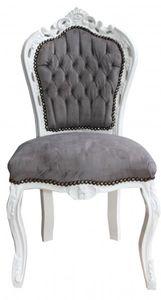 Casa Padrino Barock Esszimmer Stuhl Grau/Weiß - Antik Stil