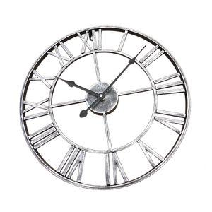 XXL Große Wanduhr Uhr Holzwanduhr Standuhr mit Römische Ziffern, Auswahl Silber 40cm Dia Antiker Stil
