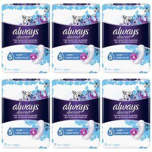 6 x Always Discreet Long Plus Inkontinenz Einlagen 8 Stück