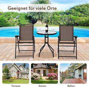 GOPLUS 3 tlg. Bistroset, 3-teiliges Gartenmöbel Set, Sitzgarnitur aus 1 Glastisch & 2 Klappstühlen, aus Eisen Temperglas & Textilen, für Balkon Terrasse Garten Camping