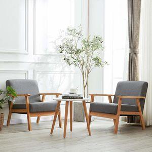 H.J WeDoo 2er SetRetro Sessel Stuhl,für Wohnzimmer Schlafzimmer Skandinavisches Designsessel,grau