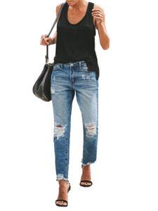Sexydance Damen Mid-Rise Ripped Lange Hosen Slim Fit Skinny Jeans Leggings Übergröße,Farbe:Blau,Größe:L