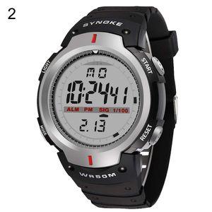 Mode für Männer Outdoor Sport Luminous Week Date Alarm Digital Armbanduhr Grau