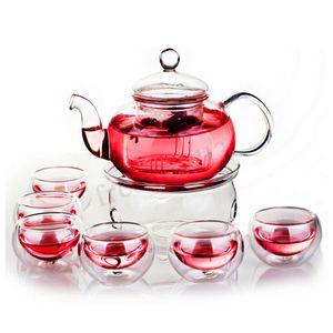 MECO 600mL Teekanne Hitzebeständig Glas Kaffee Tee Kanne Teebereiter Glaskanne Teeset +1xwärmer+6x Tassen