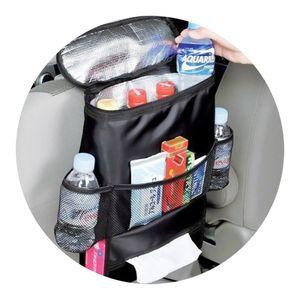 Auto Tasche KFZ Organizer mit Thermotasche für Rücksitz Getränkehalter Coolbag schwarz