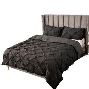 Bettwäsche 200x200cm polyester fiber 3 teilig - Schwarz Bettbezug Set, weiche Flauschige Bettbezüge mit Reißverschluss und 2 mal 50x75cm Kissenbezug