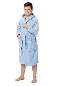 Kinderbademantel mit Kapuze, 140-152, hellblau