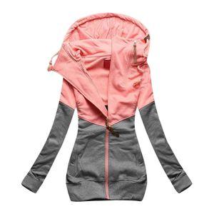 Damen Reißverschluss passende Farbe Kapuze Langarm Cardigan Hoodie Mantel Größe:5XL,Farbe:Grau