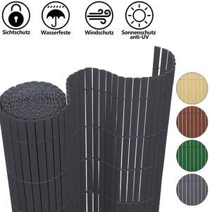 VINGO PVC Sichtschutzmatte Grau Sichtschutzzaun 0.9*5M SolVision Windschutz Gartenzaun UV-bestaendig Fuer Balkon Aussenbereich
