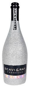 Scavi & Ray Prosecco Frizzante 0,75l (10,5% Vol) Bling Bling Glitzerflasche Silber -[Enthält Sulfite]