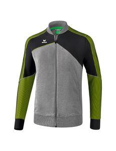 Erima Premium One 2.0 Damen / Herren Sportjacke grau/schwarz/grün M