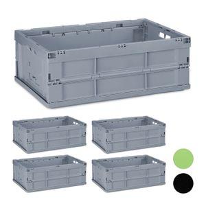 relaxdays 5 x Profi Klappbox Stapelbox, Haushalt Faltbox, Aufbewahrungsbox Transportkiste