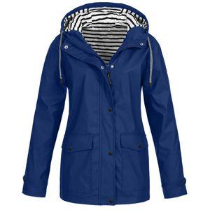 Frauen Solid Rain Outdoor Plus wasserdichter Regenmantel mit Kapuze Winddichter Jackenmantel Größe:M,Farbe:Blau