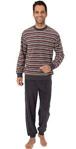 Eleganter Herren Frottee Pyjama langarm mit Bündchen in Streifenoptik - 291 101 13 576, Farbe:grau/rot, Größe:54