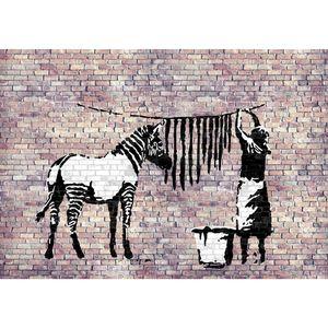 Washing Zebra Banksy 9388b RUNA Washing Zebra Banksy VLIES FOTOTAPETE XXL DEKORATION TAPETE− WANDDEKO 352 x 250 cm