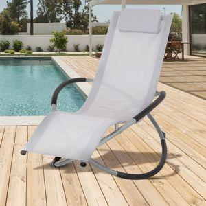 ECD Germany Alu Schaukelliege mit Kopfstütze Hellgrau, faltbar, verstellbar, atmungsaktiv, UV- und wetterbeständig, für Garten und Terrasse, Sonnenliege Gartenliege Liegestuhl Relaxliege Schwingliege