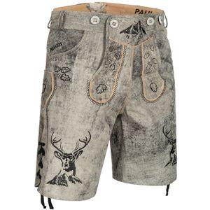 PAULGOS Herren Trachten Lederhose kurz - HK4 ANTIK - Echtes Leder - in 3 Farben erhältlich - Größe 44 - 60, Farbe:Mitternachtsgrau, Größe:50
